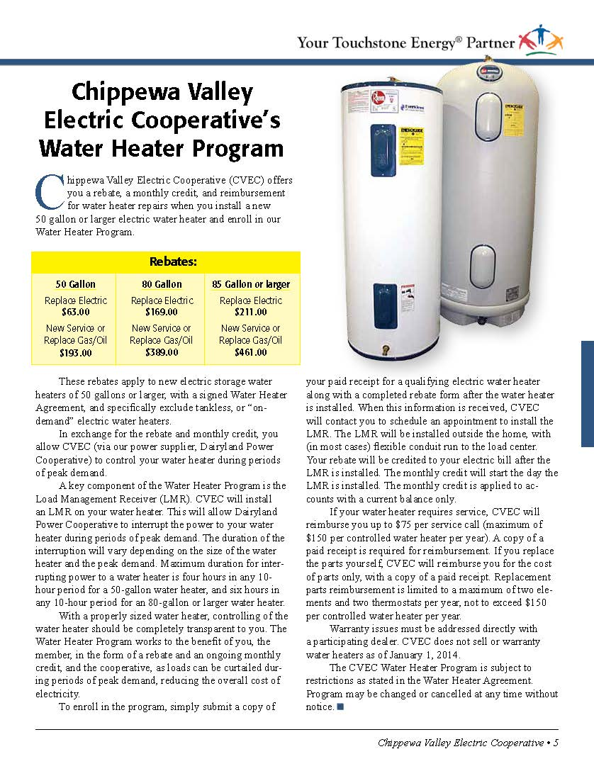Chippewa Valley Electric Coop How To Install An Water Heater Information
